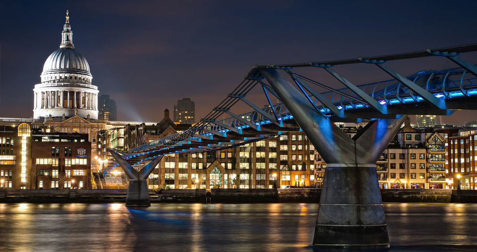 London millennium footbridge by st paul cathedral at night