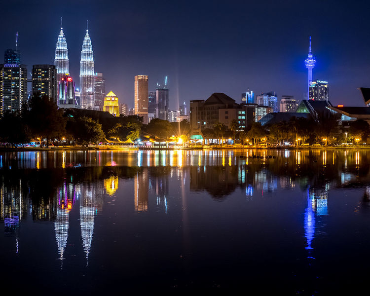 Beautiful Kuala Lumpur night skyline with the view of the Twin Towers and KL Tower and reflection on the lake at the Titiwangsa Lake Garden (Taman Tasik Titiwangsa), Kuala Lumpur, Malaysia Kuala Lumpur Kuala Lumpur Malaysia  Night Lights Night Photography Architecture City Cityscape Illuminated Modern Night No People Outdoors Petronas Towers  Petronas Twin Towers Reflection Sky Skyscraper Taman Tasik Titiwangsa Malaysia Titiwangsa Titiwangsalakegarden Travel Destinations Twin Towers Urban Skyline Water Waterfront