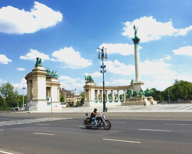 Bike Budapest Square Summer Tourism Sky Hot Day