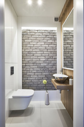 Indoors  Interior Decorating Interior Design Miror Toilet Room Vertikal Washbasin Wood Material