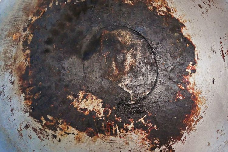 Burnt Pot or Scorched Pan Backgrounds Textures Scorched Backgrounds Burn Circle Close-up Damaged Day Decline Full Frame Geometric Shape Metal Nature No People Old Outdoors Pattern Pot Rough Rusty Shape Solid Textured  Weathered