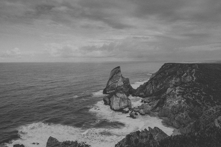 Beauty In Nature Black And White Cloud - Sky Day Grey Sky Horizon Over Water Idyllic Nature No People Outdoors Rock - Object Rough Scenics Sea Sky Tranquil Scene Tranquility Water Waves