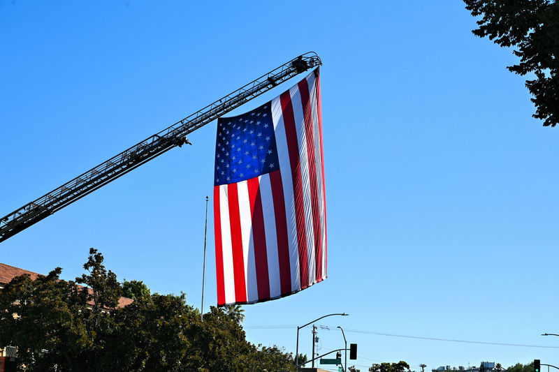The big flag during the Independence day celebration in Modesto California Sky Blue Flag Patriotism Clear Sky Striped Low Angle View Red Nature Plant Pride Tree Day No People Independence Copy Space Pole Outdoors National Icon
