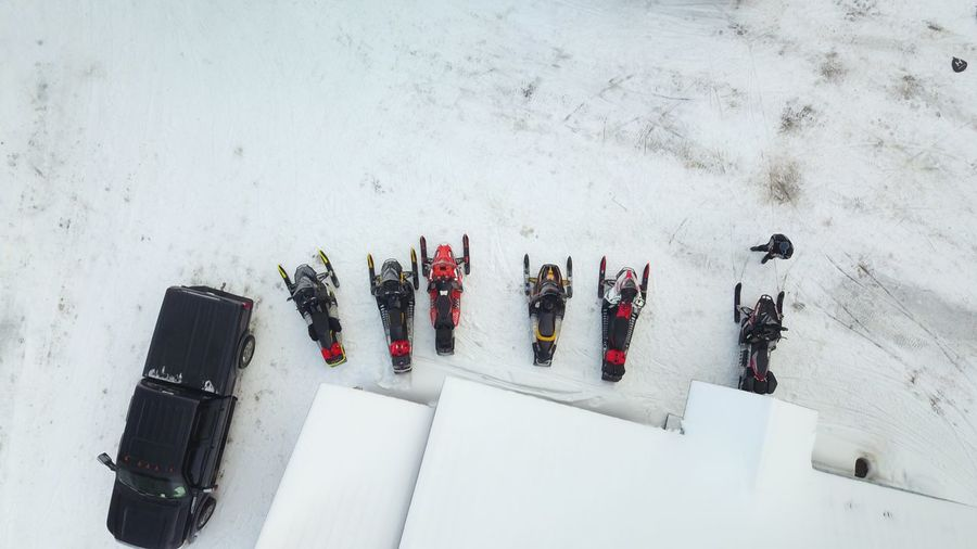 High angle view of people on snow