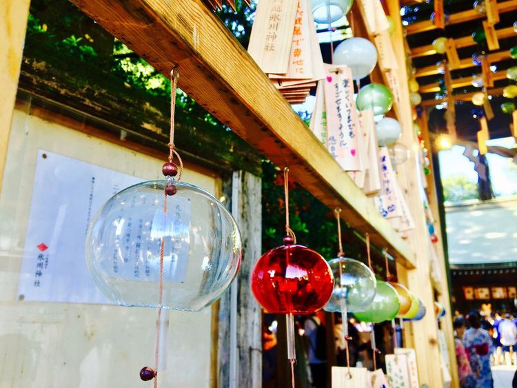 Hanging Lighting Equipment Low Angle View No People Lantern Retail  Outdoors Day Multi Colored Illuminated Close-up 氷川神社 風鈴