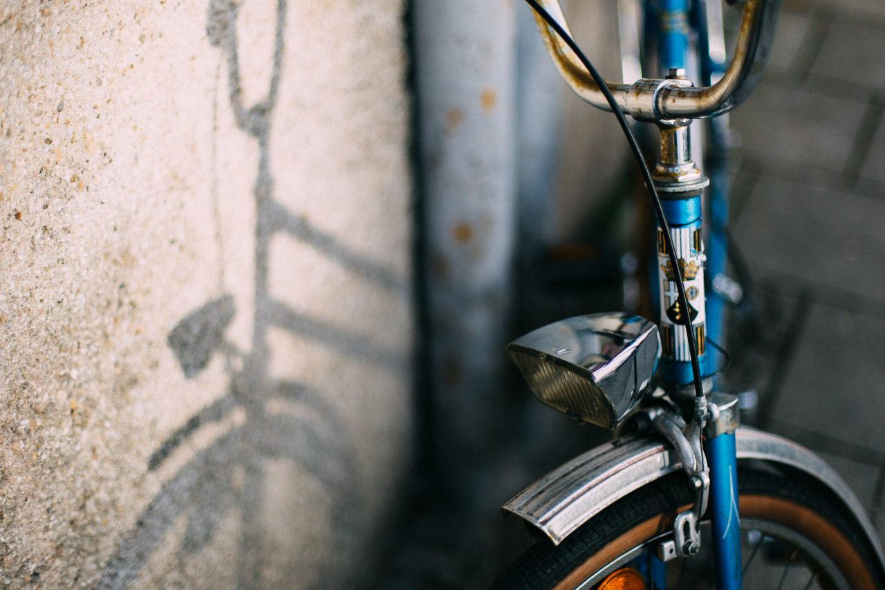 High Angle View Of Headlight On Bicycle