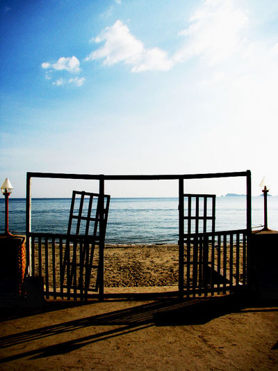 sea and sand view Door View Object Sea Sea And Sky Sea View Sky Tranquil Scene Travel