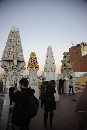 Gaudi Roof Adult Adults Only Architecture Barcelona Barcelona, Spain Built Structure Chimney Clear Sky Day Europe Europe Trip Gaudi Outdoors People Photography Themes Real People Roof Rooftop Rooftop View  Rooftops Sky SPAIN Spain♥ Travel Destinations