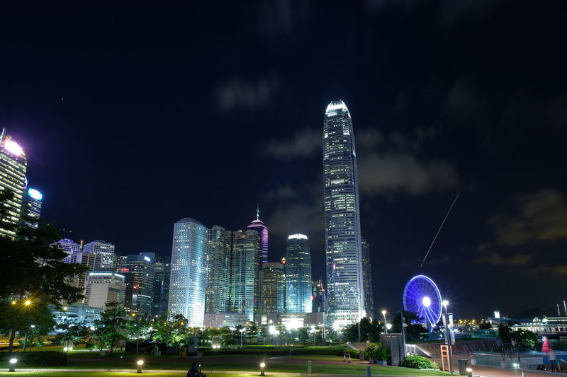 Cityscape Financial District  Grass Home Hong Kong Nightphotography Tamar Park Admiralty Architecture Best Night Building Exterior Built Structure City Fujifilm Full Frame Hong Kong Island Illuminated Night No People Park Photography Sky Slow Shutter Speed Travel Destinations