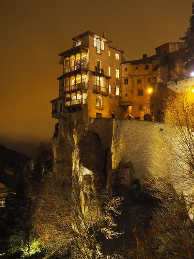Hanging houses Beauty In Nature Magic City Hanging Houses Cuenca Built Structure No People Outdoors Low Angle View Illuminated Night Nature Sky EyeEmNewHere Stories From The City Go Higher The Architect - 2018 EyeEm Awards The Great Outdoors - 2018 EyeEm Awards The Traveler - 2018 EyeEm Awards