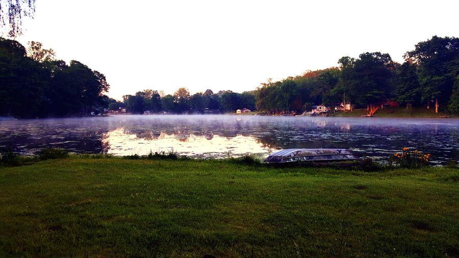 Foggy morning. Lake View Lakeside Lake House  Dadsboat Foggy Morning Springtime