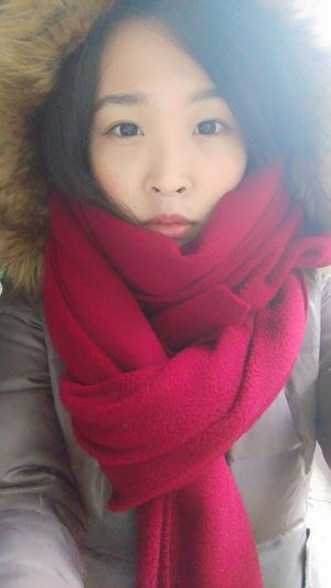 Today so cold Life Winter Cold Red Girl Face Taking Photos That's Me NEW Clothes♡ Cheese!