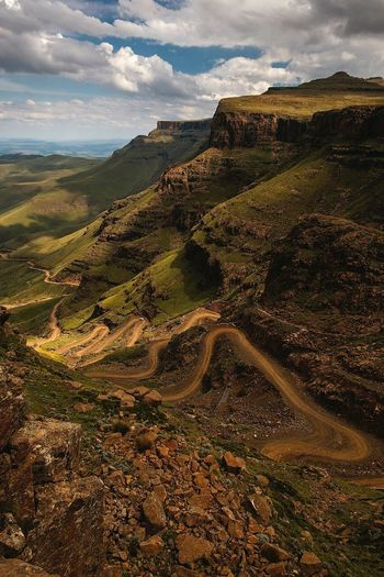 View from the top of sani pass Landscape Scenics Beauty In Nature Nature Winding Road Tranquility Mountain No People Cloud - Sky Tranquil Scene Outdoors Travel Destinations Sky Road Day