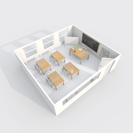 3d interior rendering of classroom 3D 3D Art 3d Rendering Class Classroom Desk No People Room School Shape Studio Shot White Background