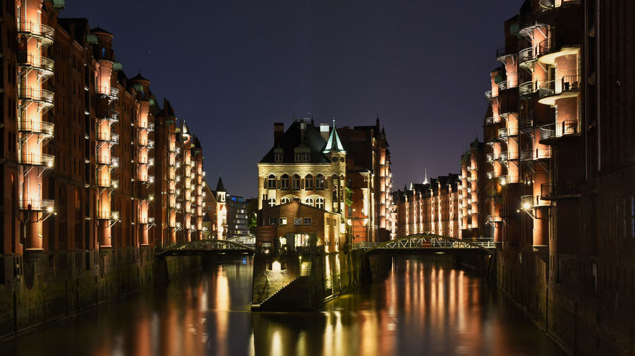 Wasserschloss Speicherstadt Hamburg Nachtfotografie Nightphotography Night Lights Night Long Exposure Longtimeexposure Langzeitbelichtung Exposure Wasserschloss Spotlight Lights Light And Shadow Nightshot Nightwalk Bluehour Architecture Building Exterior Built Structure Water Building Sky Illuminated City Reflection Waterfront Nature No People Residential District Canal Outdoors Clear Sky Travel Destinations River EyeEm Best Shots EyeEm Selects World Heritage Cityscape City Hamburch Silence Balcony Foto First Eyeem Photo