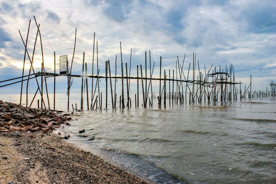 Fishing village at West coast of Malaysia. Wave Rock & Sand Rocks And Water Calming Views Kelong Sky And Sea FishingVillage Quiet Moments Quiet Sea Water Beach Nature Landscape Nobody