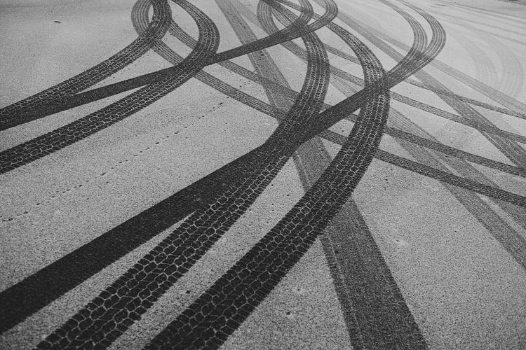 Transportation High Angle View Shadow Outdoors Connection Mode Of Transport No People Day Road Tire Track Blackandwhite