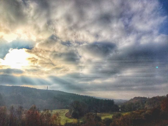 Sunburst through the clouds Cloudscape Clouds Gibside Sunburst Cloud - Sky Sky Beauty In Nature Plant Tranquility Tree Tranquil Scene Nature Scenics - Nature No People Environment Idyllic Landscape Outdoors Growth Land Day Built Structure Architecture