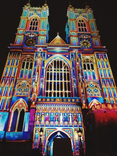 Lumiere Festival London Westminster Abbey, London London Festival Of Light Lumiere London Brilliant Colour Bright Colourful Multi Colored Arch Low Angle View No People Built Structure Travel Destinations Night Outdoors