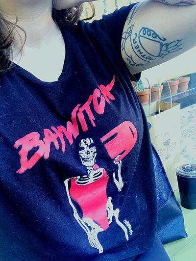 My roommate went to Los Angeles and brought me back this dope t-shirt Baywitch Ootd Rockabilly