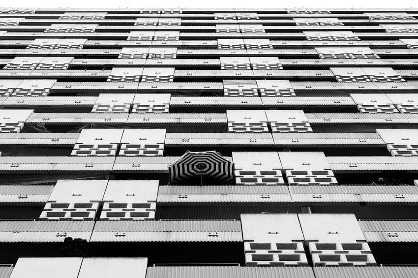Façade Architecture Blackandwhite Building Exterior Low Angle View Pattern Repetition Striped Window The Architect - 2018 EyeEm Awards