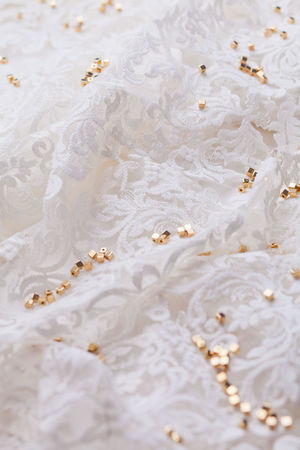 Beads Elégance Embroidered Fabric Texture Fabrics Fashion Golden Tailored To You Textile Industry Textured  Beading Detail Embroidery Fabric Fabric Detail Gold Colored High Angle View Jewelry Luxury Pattern Preparation  Textile Texture Wedding Dress White Color