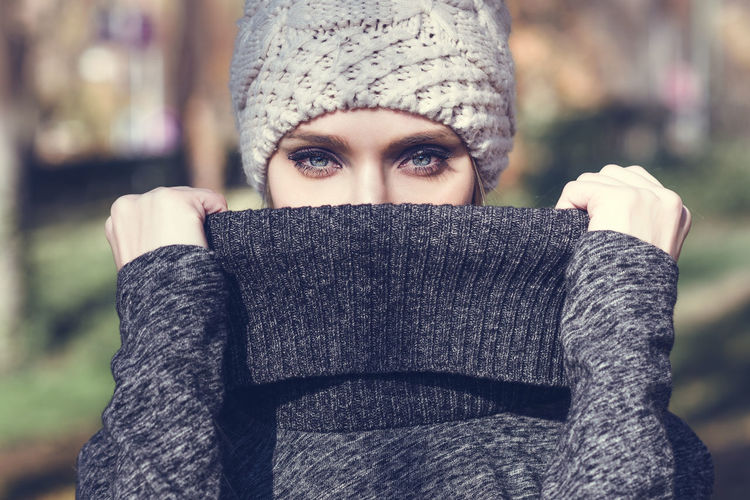 Portrait Of Young Woman Wearing Turtleneck