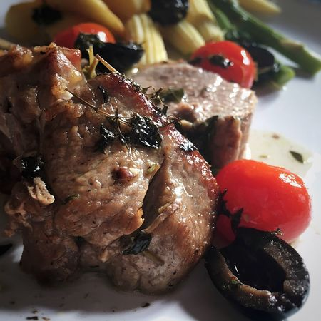 Herbed lamb cutlets with tomatoes & olives... Rack Of Lamb Garlic Herbs Lamb Cutlets Vine Tomatoes Black Olives Fresh Vegetables Dinner Tonight Foodphotography Food Photography Foodblogger Foodblog