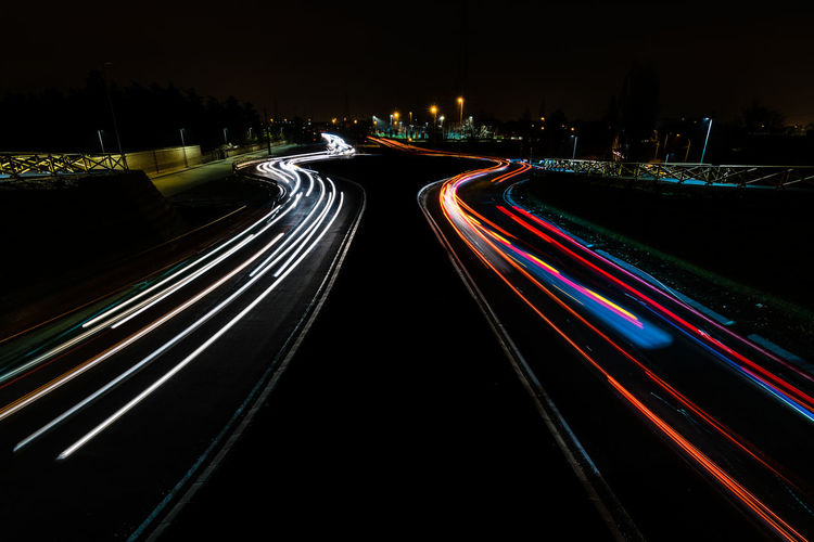 Traffic Italia Monza Architecture Blurred Motion City Direction Glowing Illuminated Italy Italy❤️ Light Trail Long Exposure Motion Multi Colored Multiple Lane Highway Night No People Road Speed Street Tail Light The Way Forward Traffic Transportation