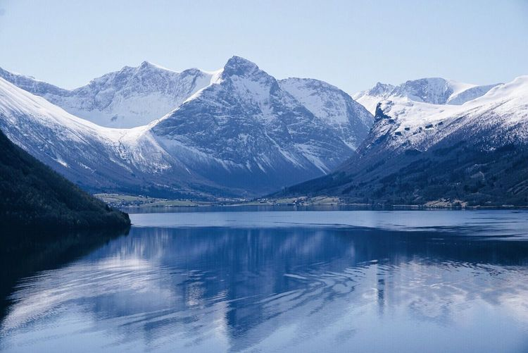 Scenic View Of Lake And Snowcapped Mountains Against Clear Sky