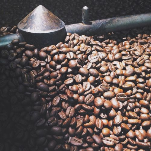 Roasted coffee beans in factory