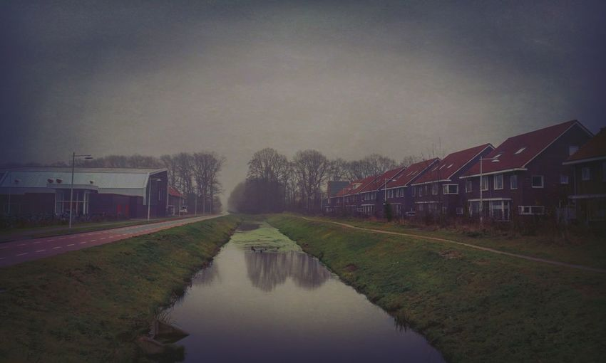 Reflection Water Architecture Built Structure Sky No People Outdoors Fog Foggy Dutch Landscape Dutch Cityscape Cityscape Dutch Houses Autumn Fall Dutch Weather Trees Gray Grey Grey Sky