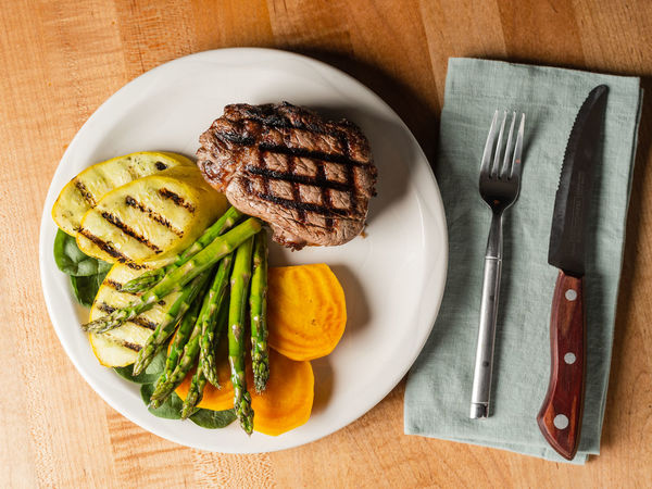 Food And Drink Food Table Freshness Ready-to-eat Eating Utensil Indoors  High Angle View Dinner Dining Out Restaurant Colorado Fillet Asparagus