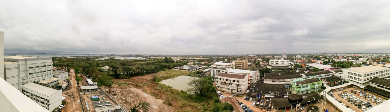 SakonNakhon ,Thailand Cityscape Architecture High Angle View City Aerial View Cloud - Sky Building Exterior Outdoors Built Structure Day Sky Panoramic No People Urban Skyline
