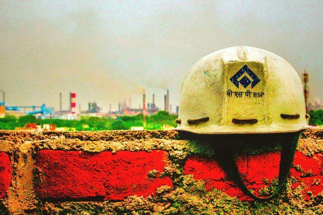 The Innovator Industrial Landscapes Steel Plant Chimneys Helmet Brick Wall Bhilai