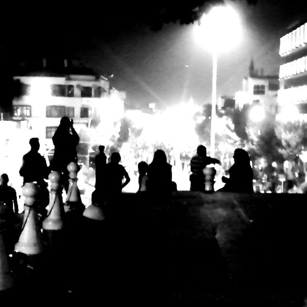 Some of the citizens of Konya look down on proceedings on Mevlana Caddesi during Democracy and National Unity Day celebrations. Konya 15temmuz Silhouette Silhouettes Turkey Konya Turkey Konyaphotography