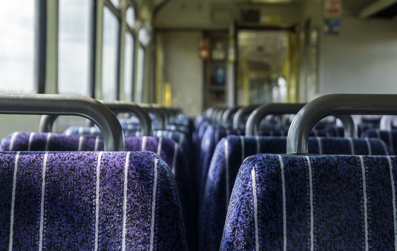 Close-up of empty seats in train