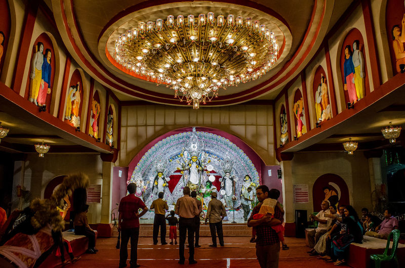 Durga Puja _2016 Architectural Feature Architecture Ceiling Chandelier Durgapuja Dusshera Dusshera2016 Hanging Illuminated Indoors  Interiors Kolkata_igers Kolkatainstagrammers Low Angle View Multi Colored Place Of Worship Religion Spirituality