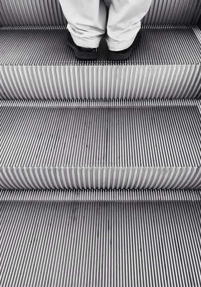 Mechanic stairs Shoes Trousers Man Urban City Monochrome Black And White Blackandwhite Black And White Stairway Stairs Pattern One Person Real People Low Section Human Leg Human Body Part High Angle View Body Part Escalator Staircase