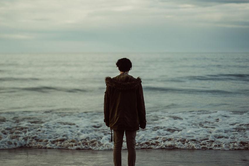 Contemplating life Man Northern Ireland Pondering Portrait Portrush Sea White Rocks