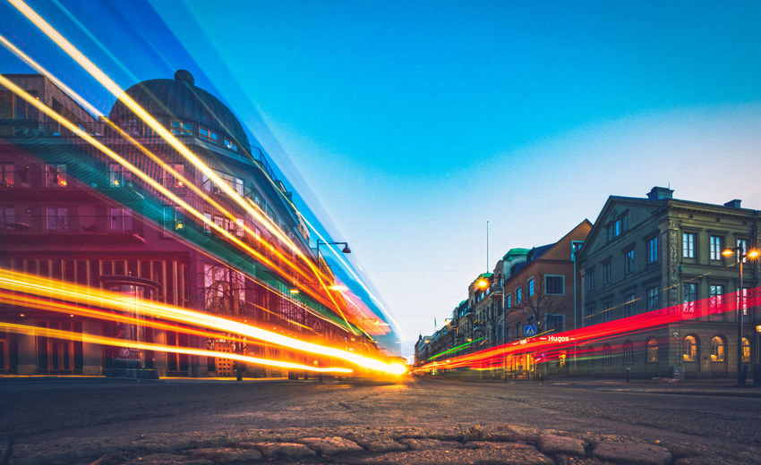 speed of light Architecture Illuminated Sky Motion Built Structure Building Exterior Transportation City Blurred Motion Speed Long Exposure Light Trail Street Nature No People Road Night Clear Sky Outdoors Blue