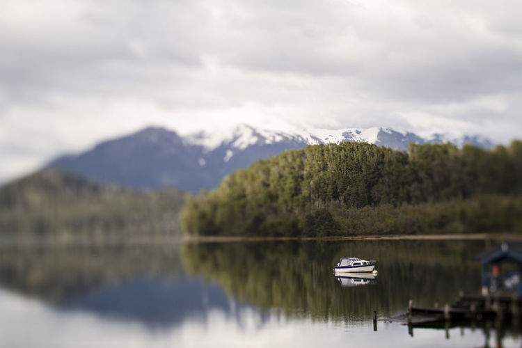 Reflection on mountain lake in Argentina Copy Space Mirror The Week on EyeEm Argentina Argentina Photography Beauty In Nature Boat Day Lake Mountain Nature negative space No People Outdoors Peaceful Reflection Scenics Sky Space Still Tilt Shift Tranquility Water Waterfront