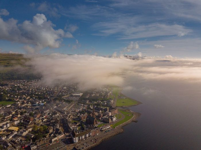 The mist rolling in on Largs, Scotland. Sky Cloud - Sky Architecture Cityscape Aerial View Building Exterior Built Structure No People Outdoors City Water Landscape Day Sea Nature Beauty In Nature Mist Millport