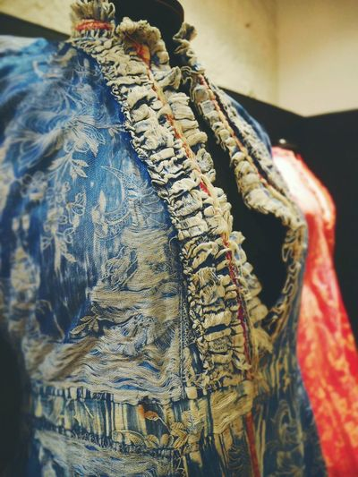 Vintage Dress Vintage Years Ago Silk Dress Old Times... Old-fashioned Close-up Blue Dress Fashion