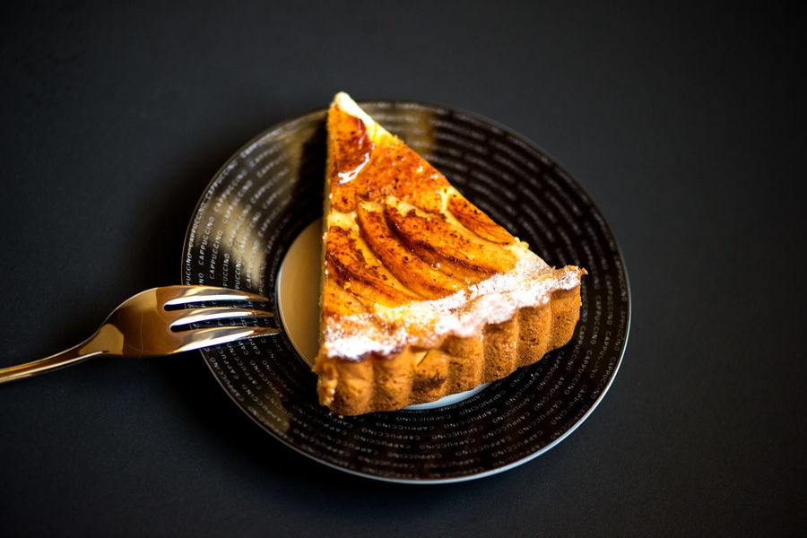 Apple pie on the black background Cakes Christmas Dessert Apple Pie Black Background Cake Close-up Day Directly Above Food Food And Drink Fork Freshness Indoors  Indulgence National Food No People Pie Pie Day Pies Plate Ready-to-eat Season  Studio Shot Sweet Food Food Stories