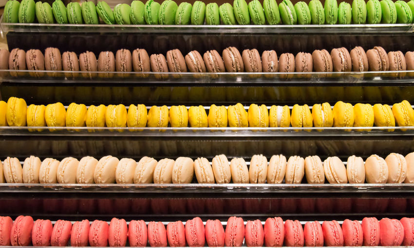 Full Frame Shot Of Colorful Macaroons For Sale In Shelves