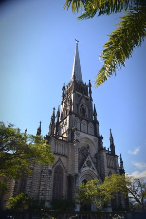 Cathedral of Petropolis Neogothic Catholic Cathedral Petrópolis Rj Blue St Peter City Tree Clock Face Blue Cityscape Business Finance And Industry Politics And Government History Clock Urban Skyline Clock Tower Tower Tall
