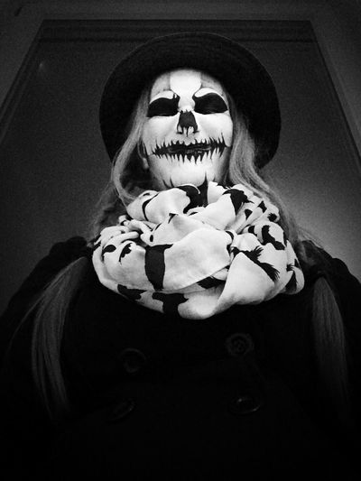 Self Portrait Portrait Female Iphonography Iphoneonly Blackandwhite Scary Face Madeyewlook Nighmarebeforechristmas Halloween2015