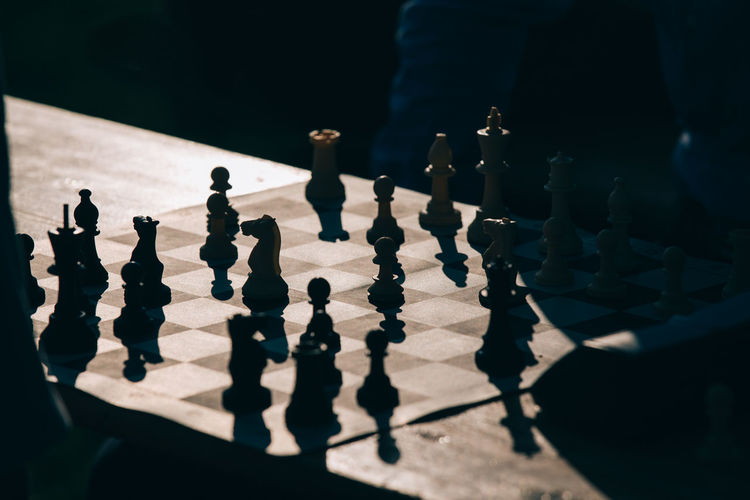 Chess Chessboard Close-up Figure Focus On Foreground Light And Shadow Selective Focus Side By Side Welcome To Black