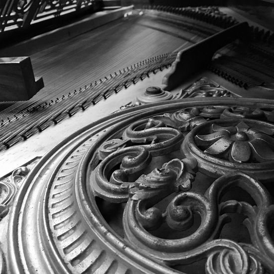 Workings of a Baby Grand Piano No People black & white Piano grand piano